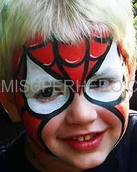 Spider man face painter