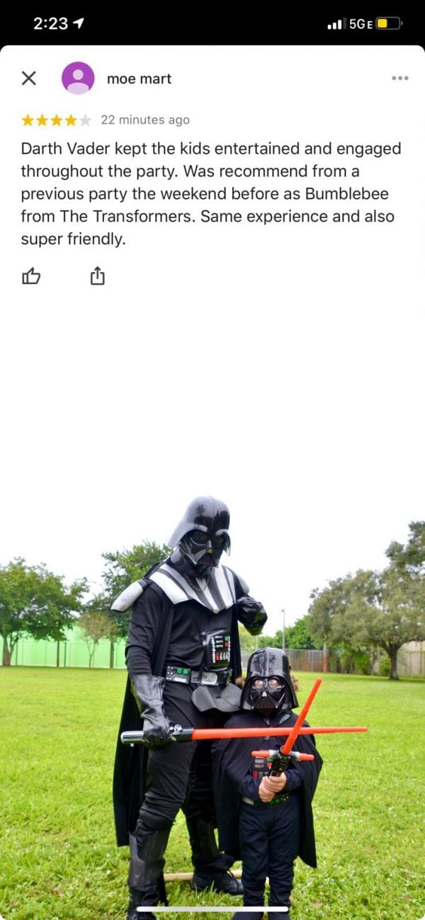 Darth Vader In Fort Lauderdale Review